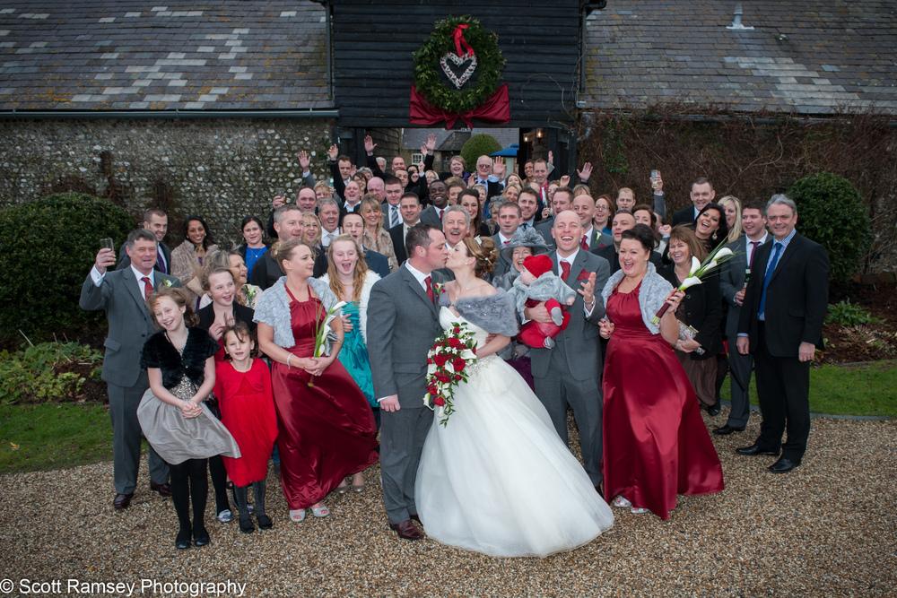 Upwaltham Barns Wedding Group 15121226