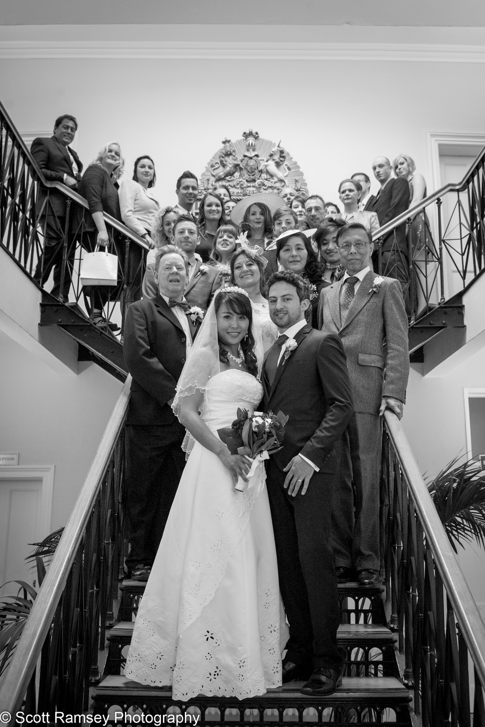 Portsmouth Registry Office Wedding Group On Stairs 040513-24