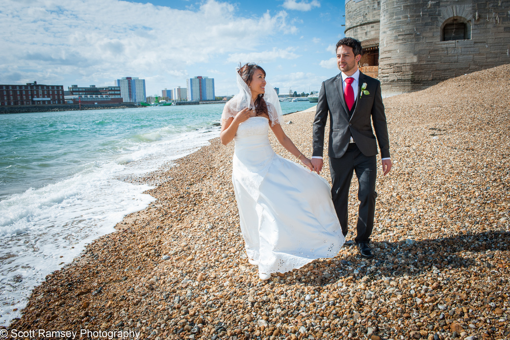Portsmouth wedding photographer Scott Ramsey created this romantic wedding photograph in historic Old Portsmouth.