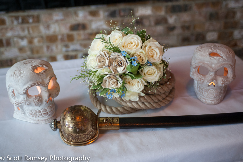 Brighton-Wedding-Photography-Pirate-Theme-Fowers-Skulls-Cutlass-