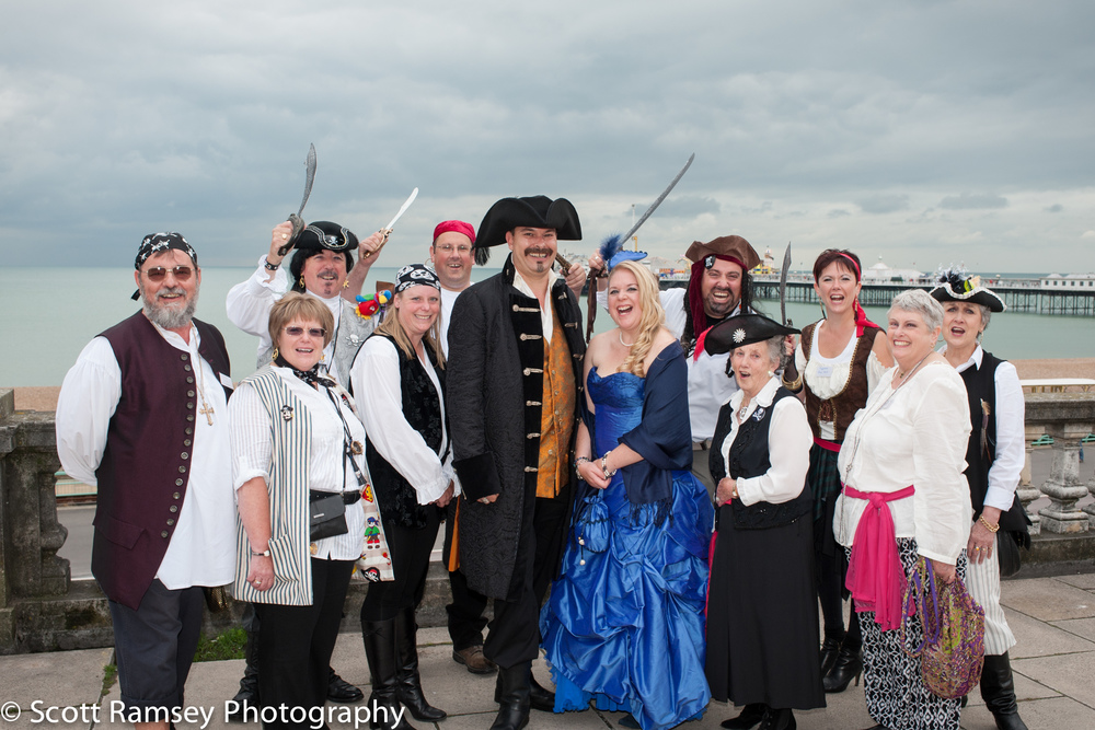Brighton-Wedding-Photography-Pirate-Theme-Guests-Bride-Groom-Pie