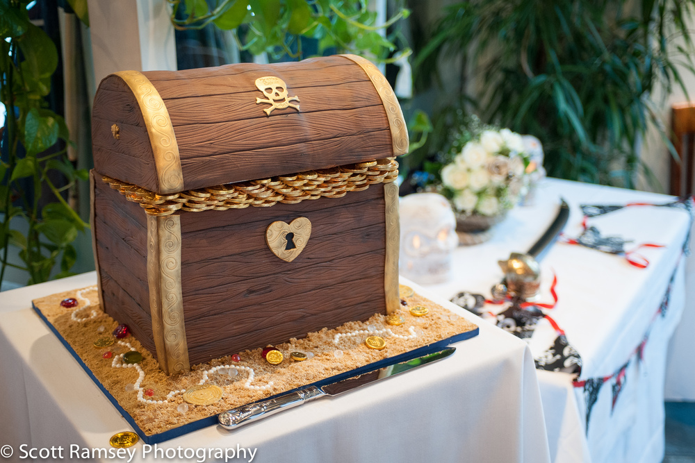 Brighton-Wedding-Photography-Pirate-Theme-Cake-Pirates-Chest-Coi