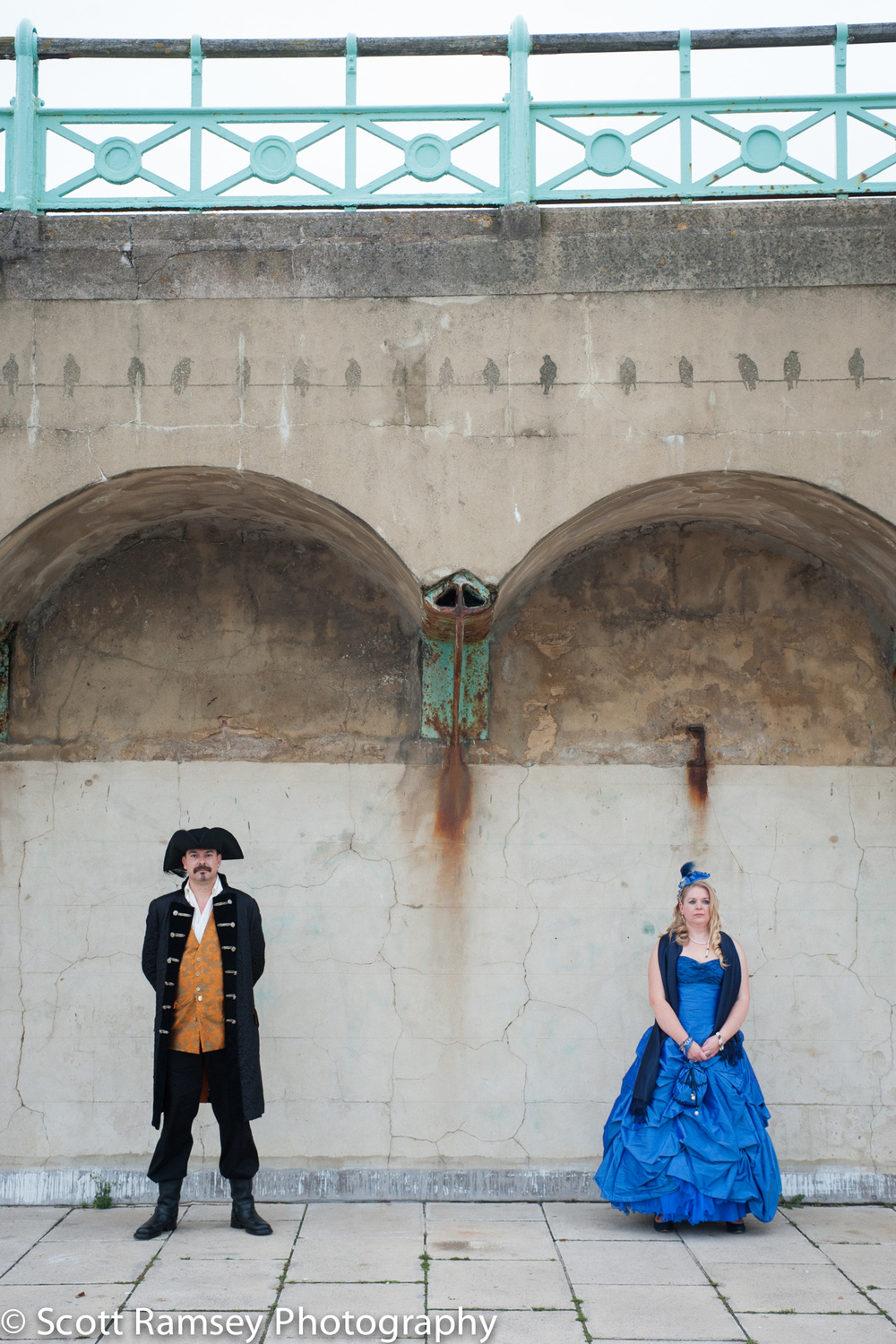 Brighton-Wedding-Photography-Pirate-Theme-Bride-Groom-Arches-Sea