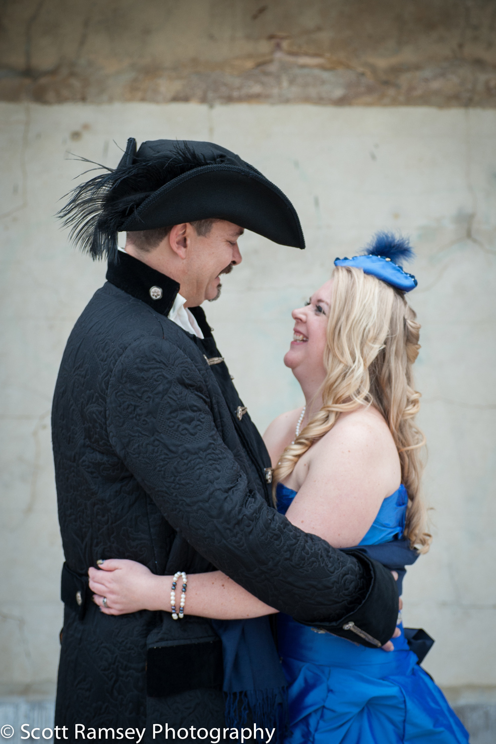 Brighton-Wedding-Photography-Pirate-Theme-Bride-Groom-Hug-Romant