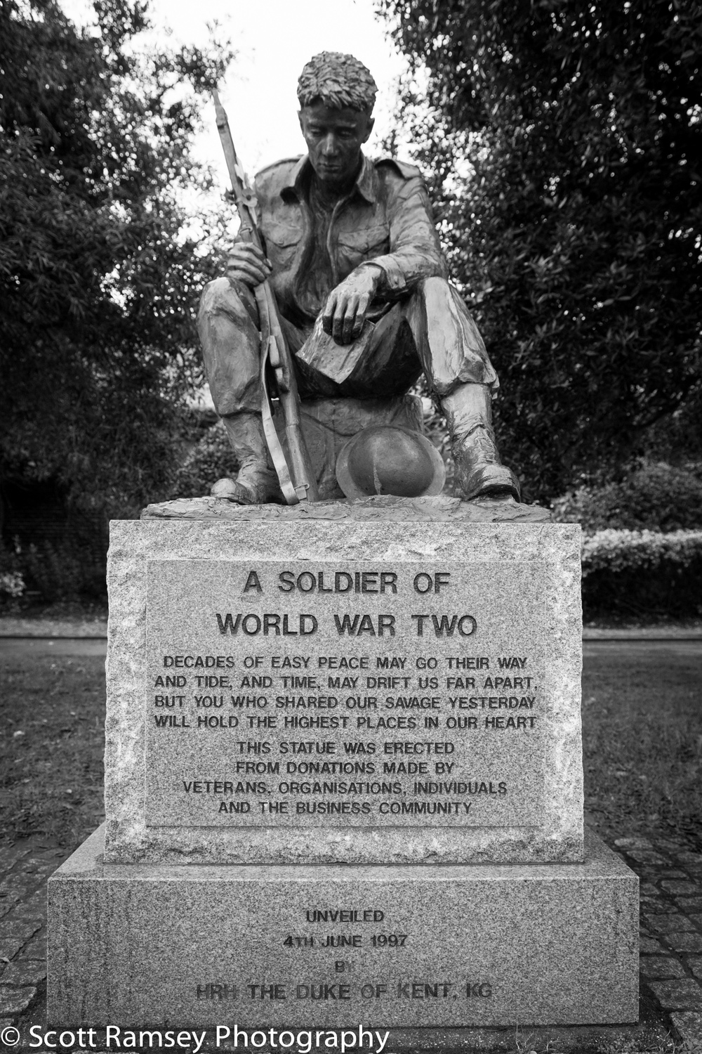 A War Memorial of a World War Two Soldier outside the D-Day Museum on Clarence Esplanade in Southsea, Portsmouth, Hampshire, UK.   BUY PRINT