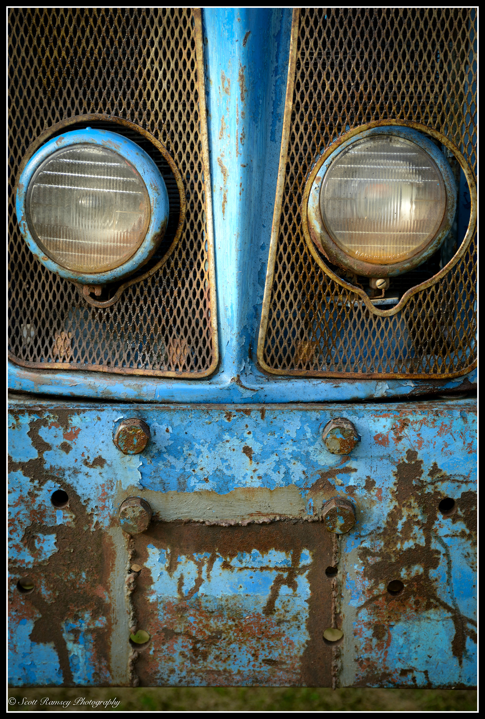 The front of this vintage tractor looked like a sad face.