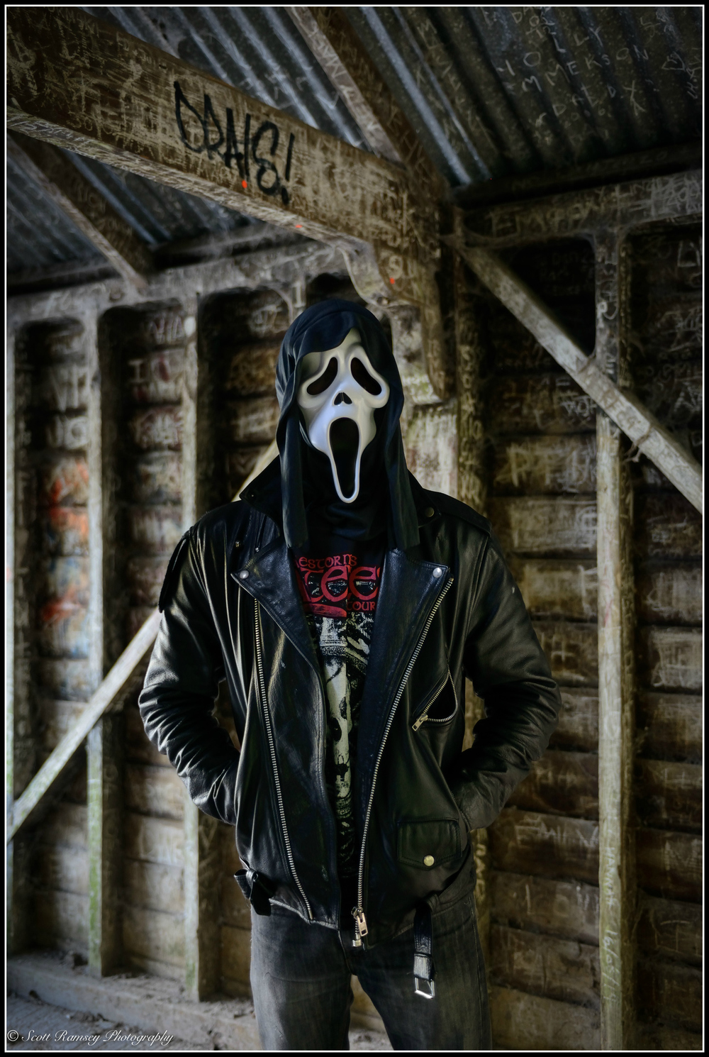 He's got the look! A Halloween photo taken in an abandoned boat house. © Scott Ramsey Photography