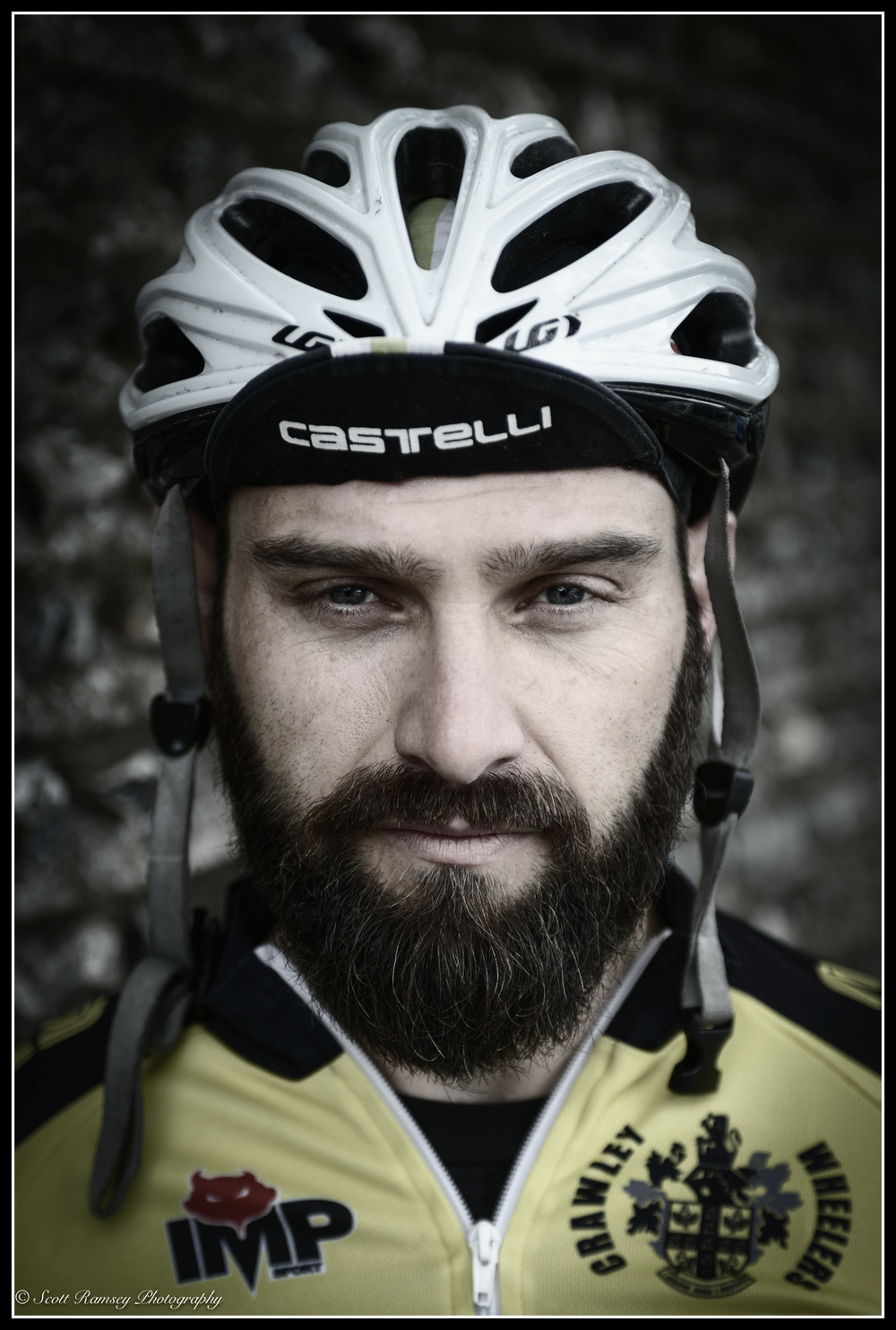 A portrait of a cyclist at Preston Park Velodrome in Brighton. © Scott Ramsey Photography