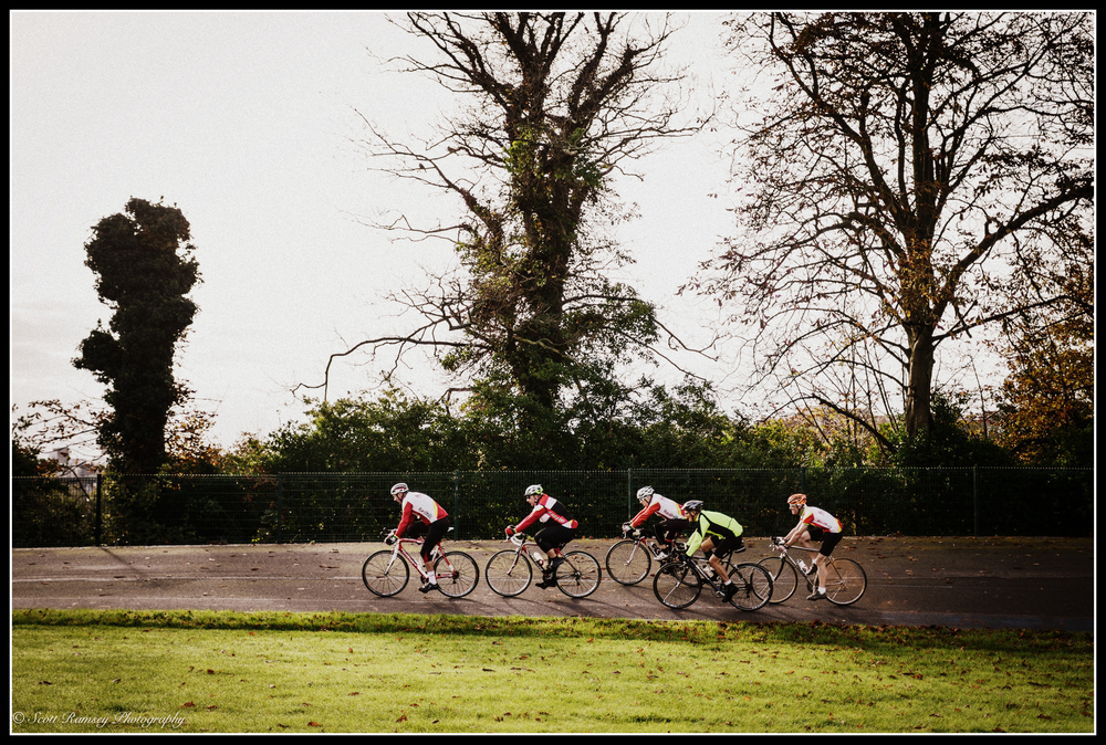 Preston Park Velodrome dates back to 1877 and is the oldest cycle track in the UK. In the photograph a group of cyclists ride along the track whilst taking part in the Pedal In Preston Park charity cycle event.
