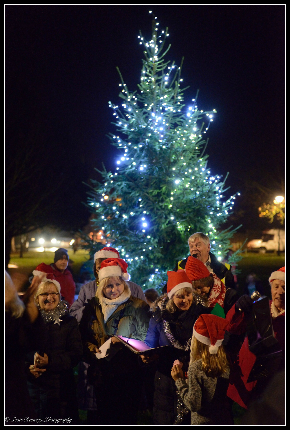 The East Preston village christmas tree lights are switched on.