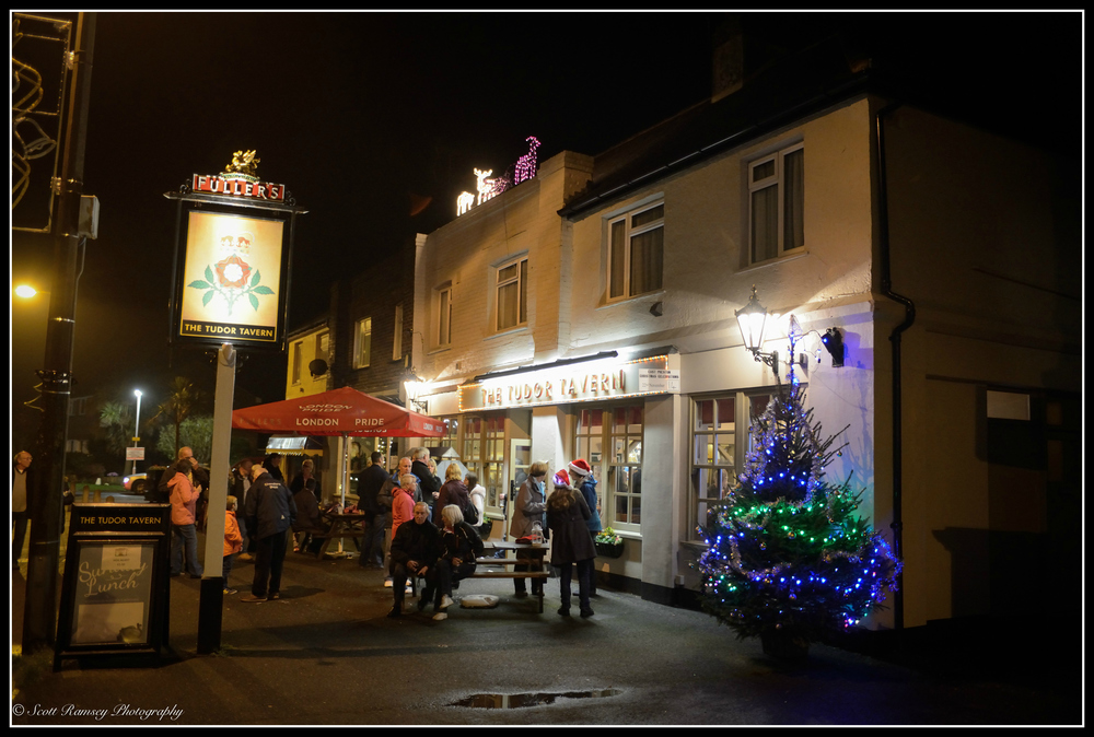 Christmas lights outside the The Tudor Tavern in East Preston, West Sussex.