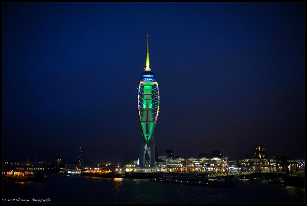The Spinnaker Tower in Portsmouth lit up at night. As the night ferry arrives into Portsmouth I get a perfect view.