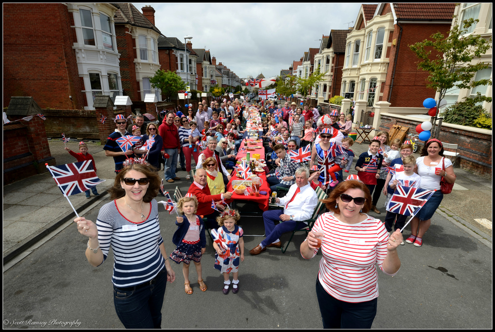 The residents of Nettlecombe Avenue in Southsea, Portsmouth, UK enjoy a VE Day 70th Anniversary street party. © Scott Ramsey Photography.