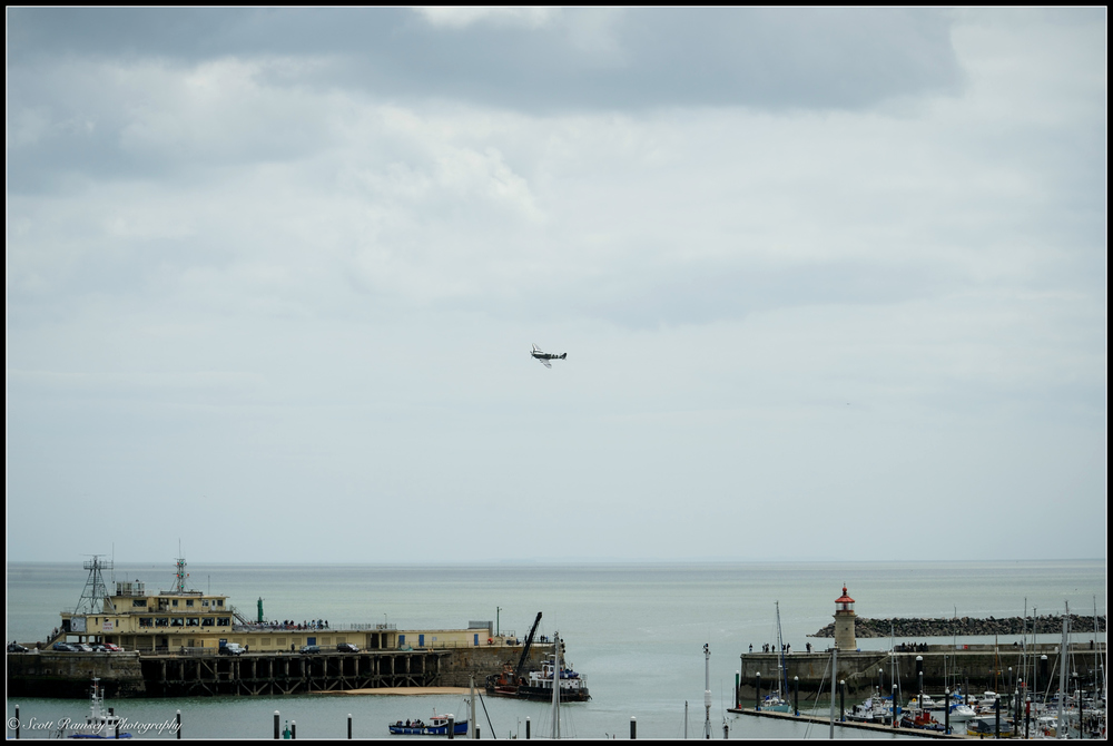 A Spitfire flies over Ramsgate Royal Harbour during a weekend of events to commemorate the 75th anniversary of Operation Dynamo. ©Scott Ramsey Photography