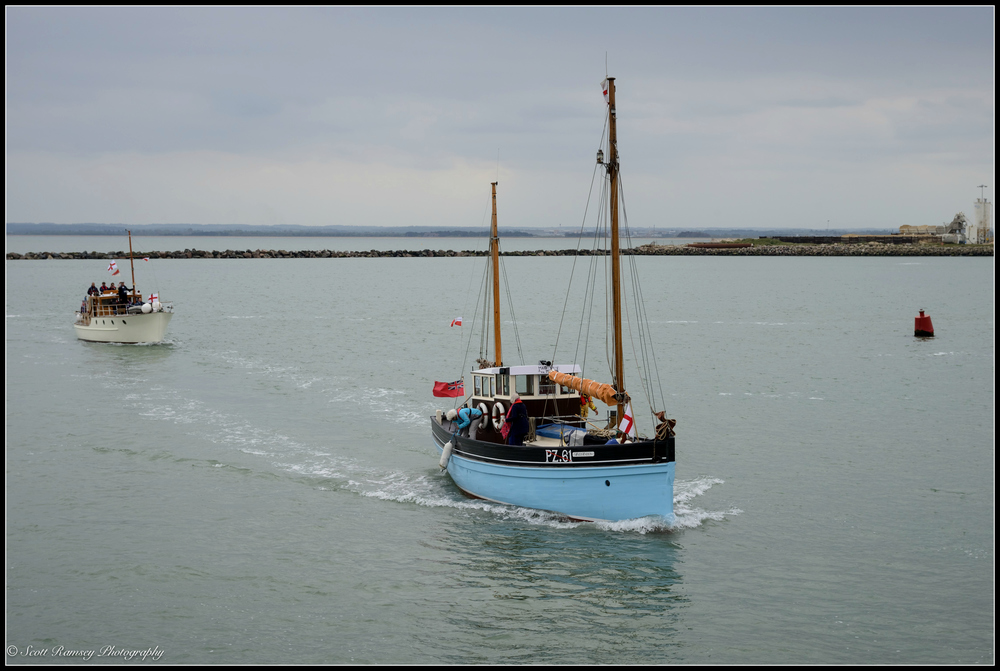 The Maid Marion, a 1925 Cornish lugger and one of the original Dunkirk Little Ships, returns to the Royal Harbour Marina Ramsgate during a weekend of events to commemorate the 75th anniversary of Operation Dynamo. ©Scott Ramsey Photography
