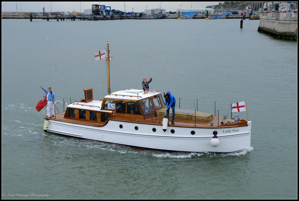 The Lady Gay, a 1934 motor yacht and one of the original Dunkirk Little Ships, returns to the Royal Harbour Marina Ramsgate during a weekend of events to commemorate the 75th anniversary of Operation Dynamo. ©Scott Ramsey Photography