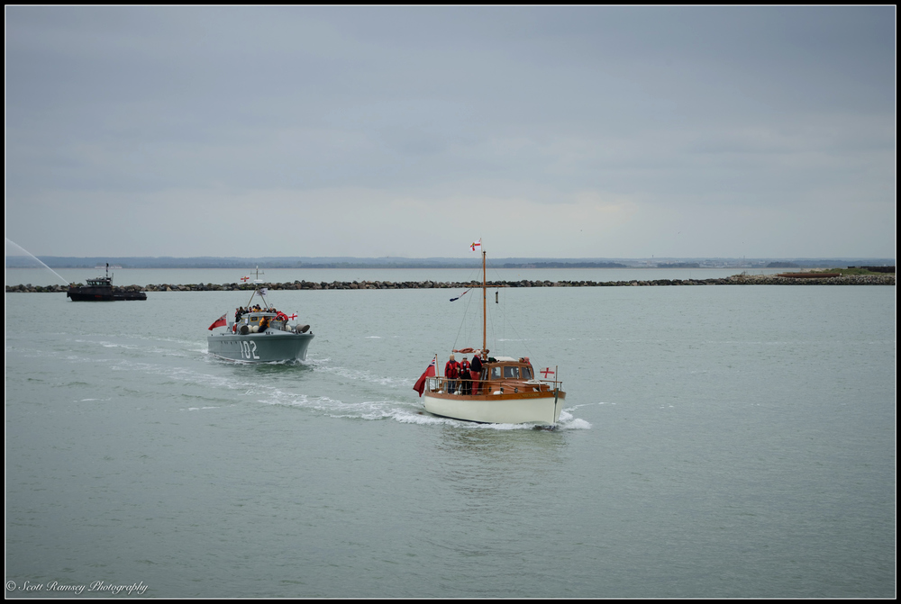 The Dunkirk Little Ships ( left to right - the 1937 Motor Torpedo Boat 102 and the 1935 Hilfranor motor yacht) return to the Royal Harbour Marina Ramsgate, Kent, UK during a weekend of events to commemorate the 75th anniversary of Operation Dynamo.  ©Scott Ramsey Photography