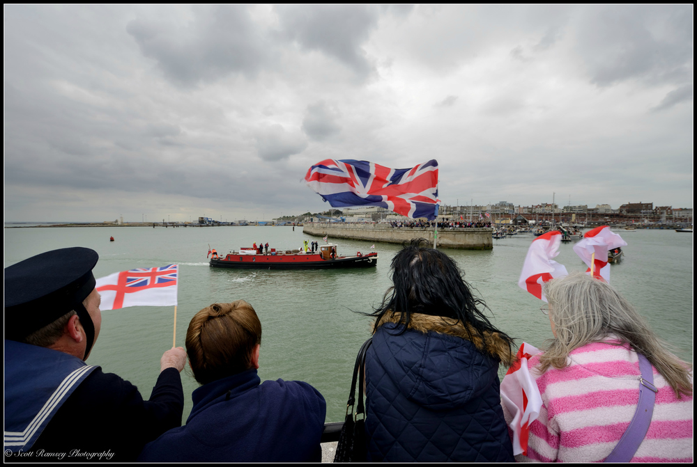 The Massey Shaw a 1935 fireboat and one of the original Dunkirk Little Ships returns to the Royal Harbour Marina Ramsgate, Kent, UK during a weekend of events to commemorate the 75th anniversary of Operation Dynamo. ©Scott Ramsey Photography