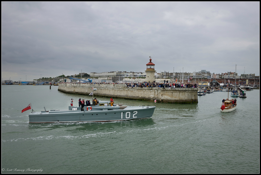 Two of the original Dunkirk Little Ships, the 1937 Motor Torpedo Boat 102 and Hilfranor a 1935 motor yacht, motor into the Royal Harbour Marina Ramsgat, Kent, UK during a weekend of events to commemorate the 75th anniversary of Operation Dynamo. ©Scott Ramsey Photography