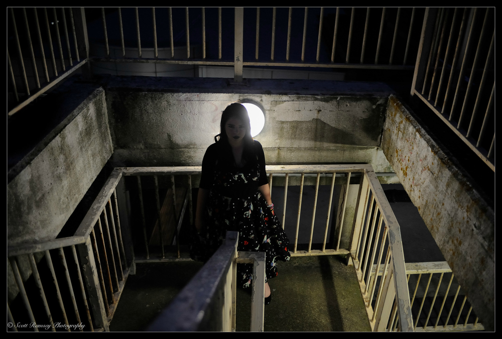 Girl In A Car Park Stairwell At Night © Scott Ramsey Photography
