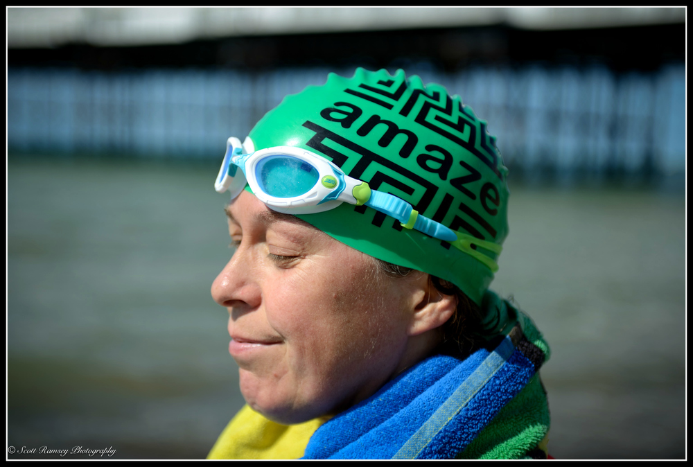 Fiona stands on Brighton beach after completing her first swim for charity. Outdoor swimming gives her a sense of being part of the world, Photo: ©Scott Ramsey Photography