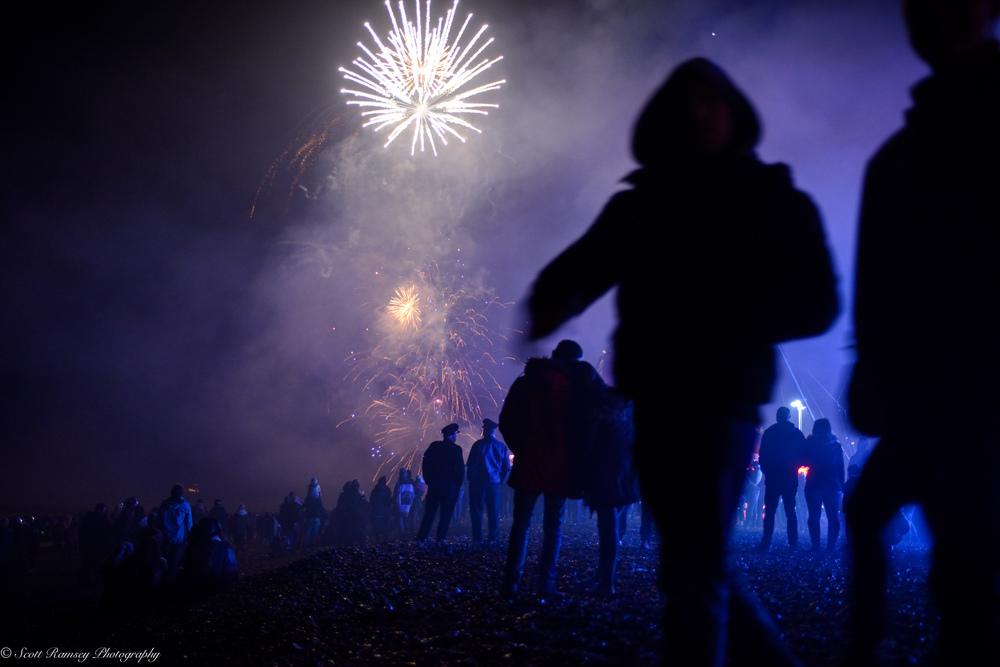 Fireworks explode