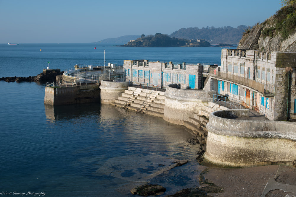Abandoned buildings above steps that lead down to the Hoe Foreshore in Plymouth, Devon. Photo © Scott Ramsey.