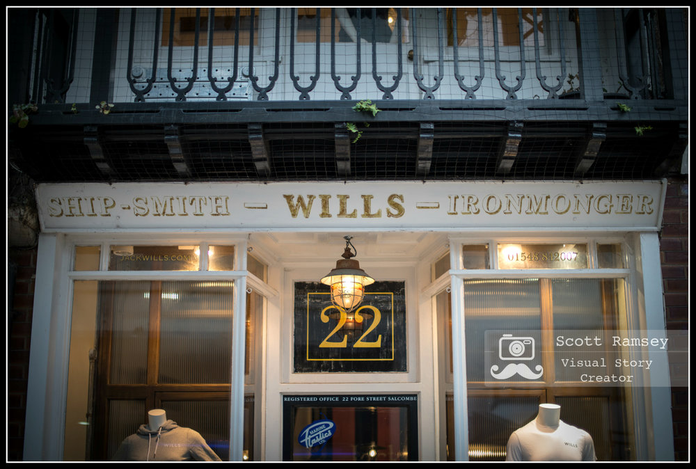 The first Jack Wills store at 22 Fore Street, Salcombe, Devon in England. The clothing brand was founded by Peter Williams and Robert Shaw in 1999. The founders slept above the shop and named the brand after one of the co-founders grandparents. Photo © Scott Ramsey