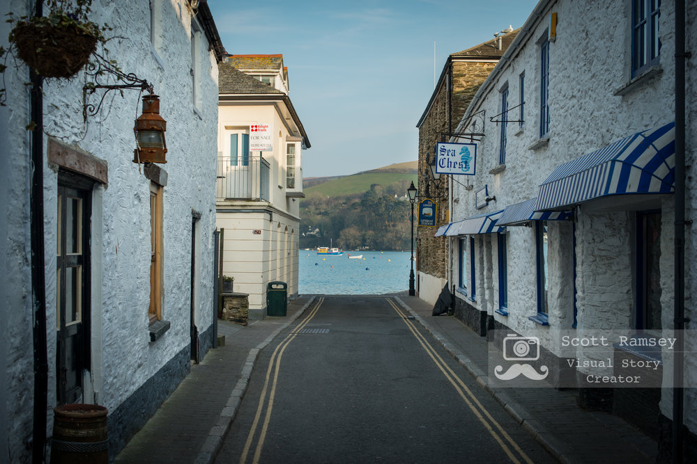 Looking along Union Street in Salcombe, Devon boats can be seen moored in Batson Creek. Photo © Scott Ramsey