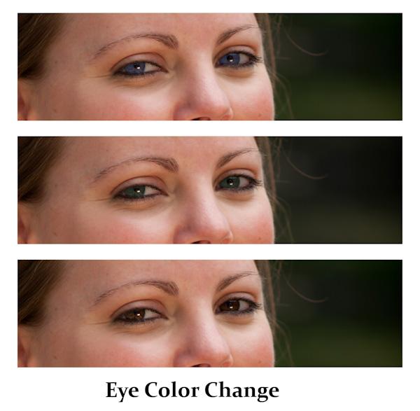 Eye color change, adjustment, Photoshop