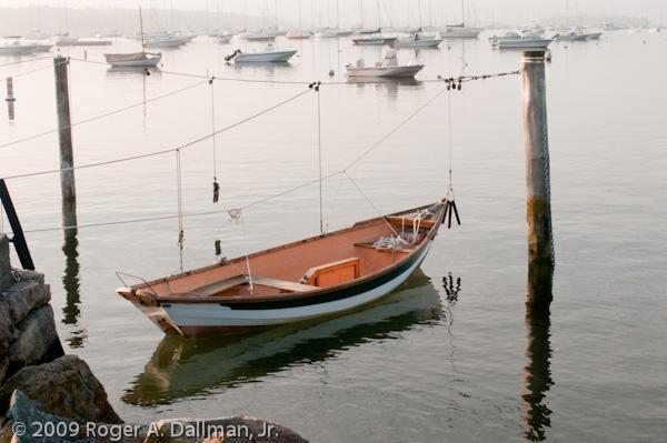 skiff, fog, sunrise, boat