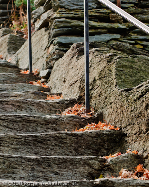 stairs, steps, fall, leaves, lines, stones, steep