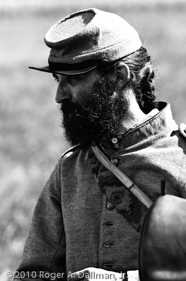 high contrast, gettysburg, civil war, re-enactor, black and white