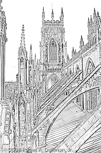 high contrast, york, minster, england, line drawing, buttress