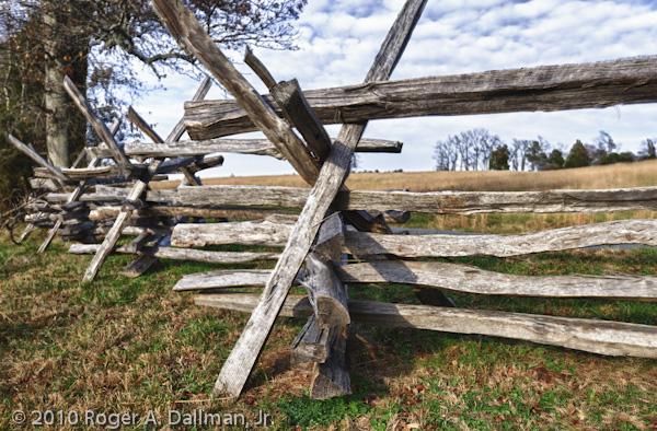 Split rail fencing at the Manassas Battlefield, Manassas, Virginia
