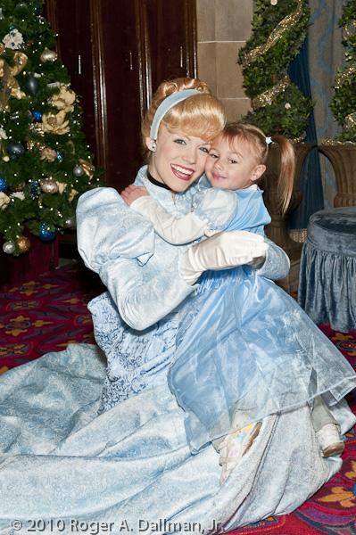 Rebecca Vasquez visits with Cinderella in DisneyWorld's Magic Kingdom, Orlando, Florida.