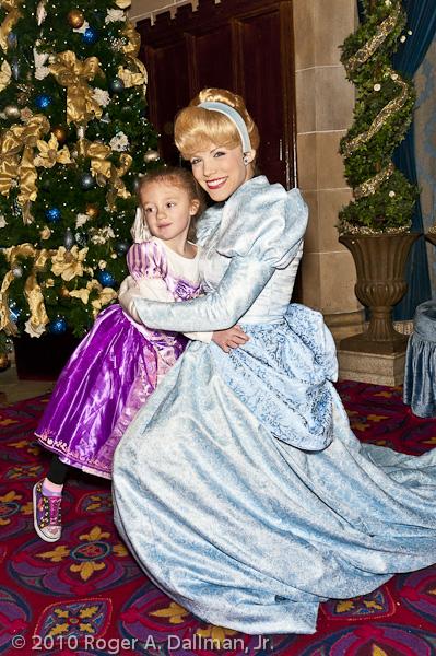 Grace Vasquez visits with Cinderella in DisneyWorld's Magic Kingdom, Orlando, Florida.