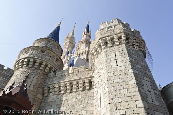 Wide angle photograph of the Magic Kingdom castle in Disney World, Orlando, Florida