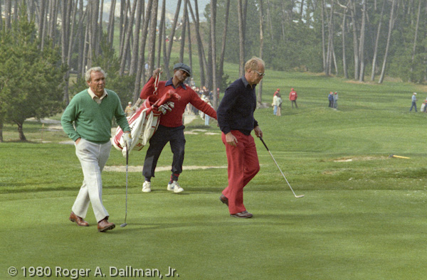 President Geral Ford and Arnold Palmer at the 1980 Crosby Golf Tournament in Pebble Beach, Carmel, California.