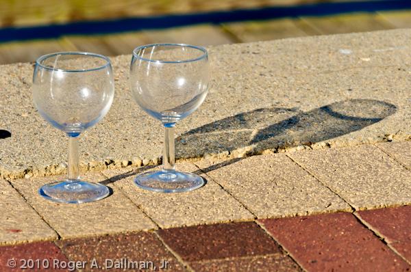 wine glasses, along the Potomac River, Virginia