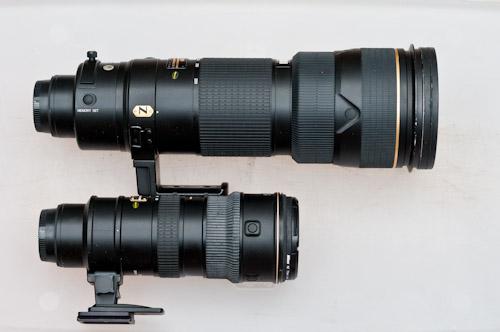 size comparison of Nikon 70-200 and 200-400