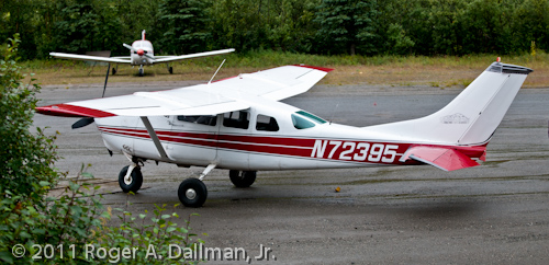 Cessna 206 on the airstrip