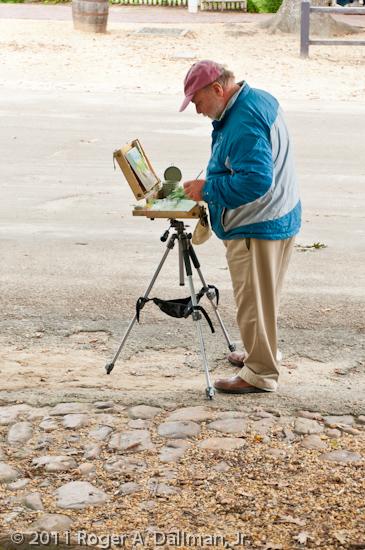 painter on Duke of Gloucester Street, Williamsburg, Virginia