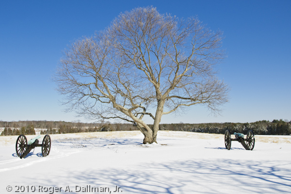 Cannons in the snow at Manassas Battlefield, Virginia, USA