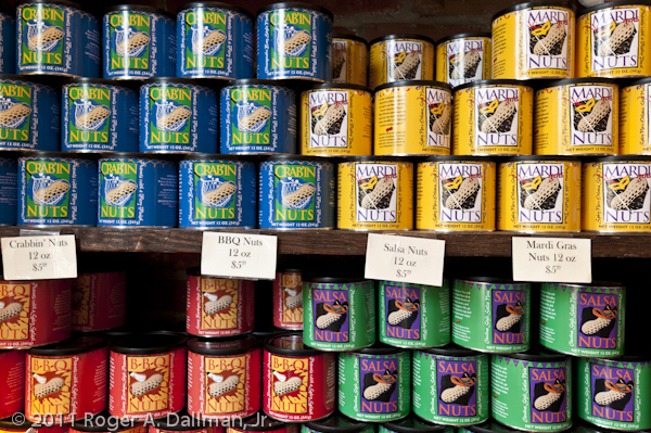 Colorful cans on a store shelf