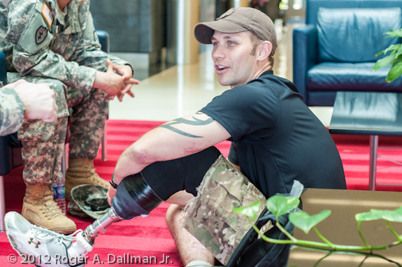 Wounded soldier relaxing