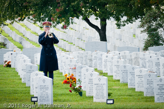 Bugler in Arlington Cemetery in landscape orientation