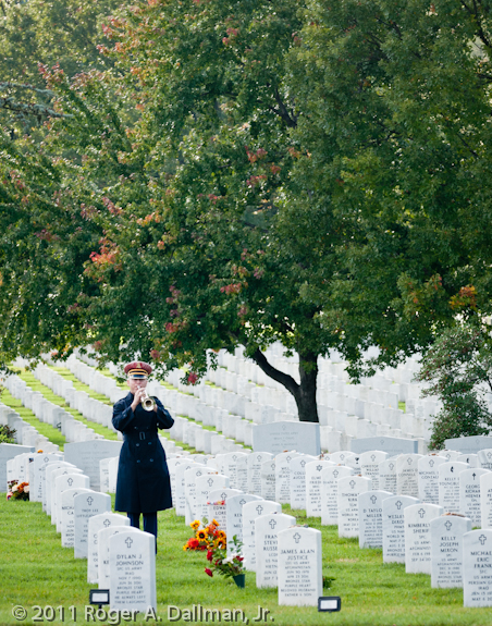 Bugler in Arlington Cemetery with distracting line