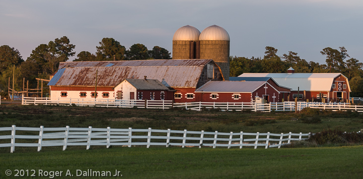 farm at sunset
