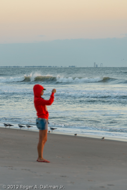 sunrise, ocean, girl